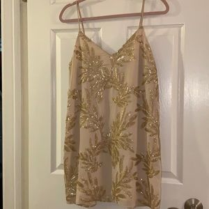 Show Me Your Mumu Palm Print Sequin Dress in Gold